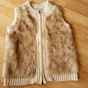 Girls Poof Girl faux fur full zip vest size S